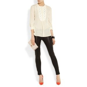 Tory Burch Petal Embellished Silk Blouse Top 2